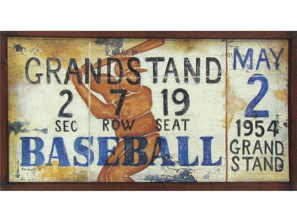 Baseball ticket deep dish tin sign hobby lobby