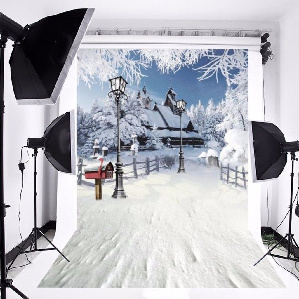 Winter christmas snow house photo background photography newborn studio backdrop props