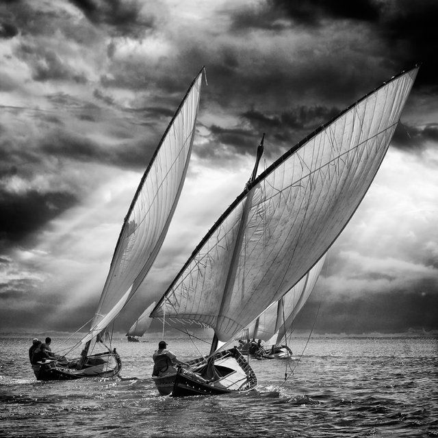 Sailboats by angel villalba · sailing boatsailing shipssailboat racing sailing dinghyblack white