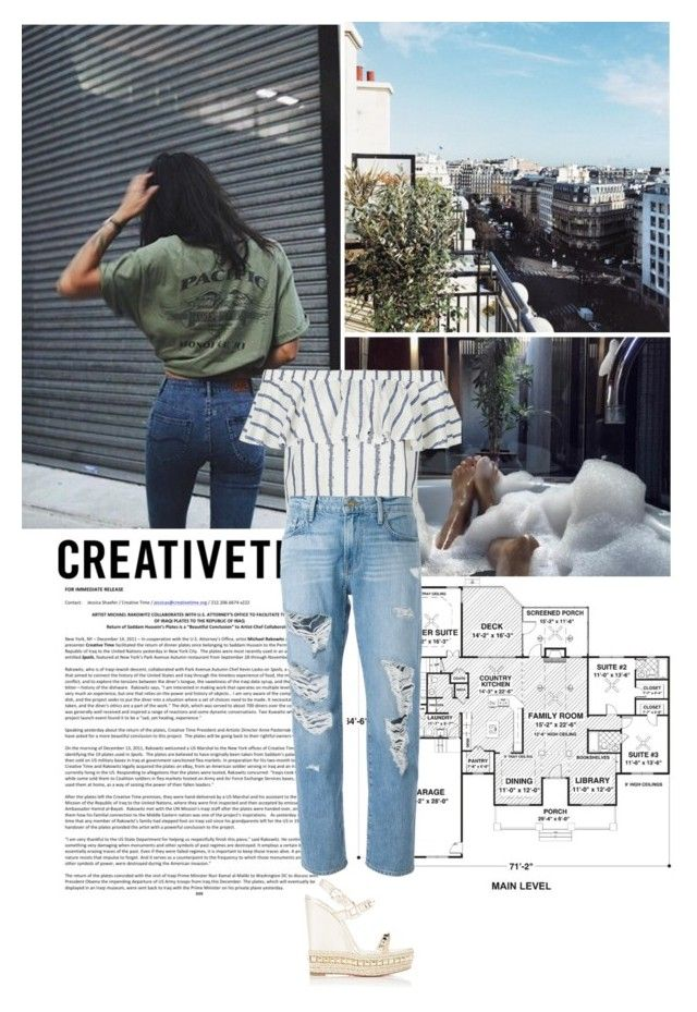 """""""Untitled #171"""" by midnightcigarette ❤ liked on Polyvore featuring Topshop, Frame Denim, Christian Louboutin and Avenue"""