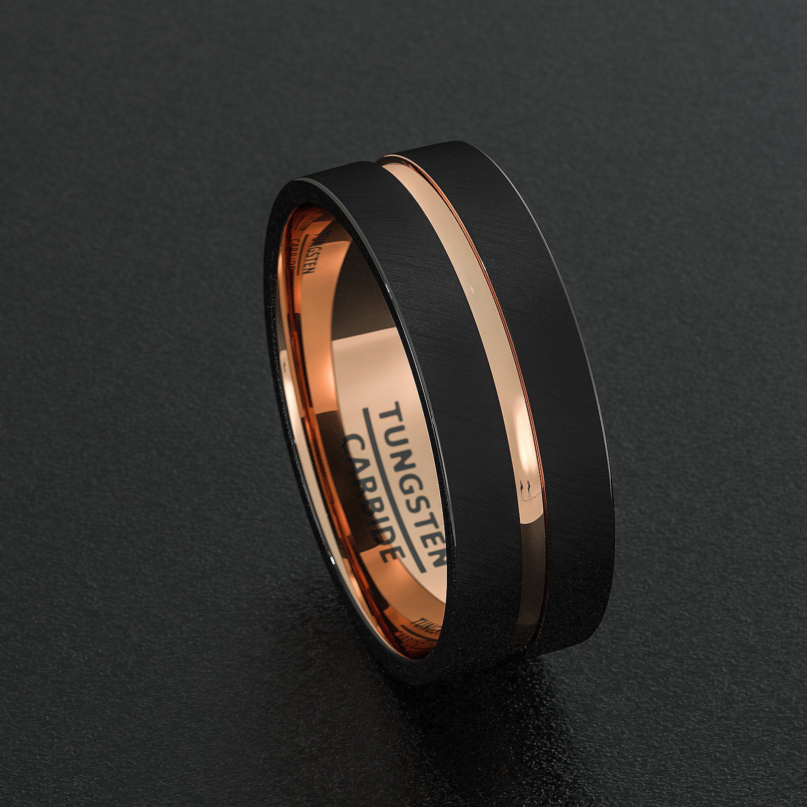 Mens Wedding Band Black Tungsten Ring 8mm Rose Gold Inlay Groove