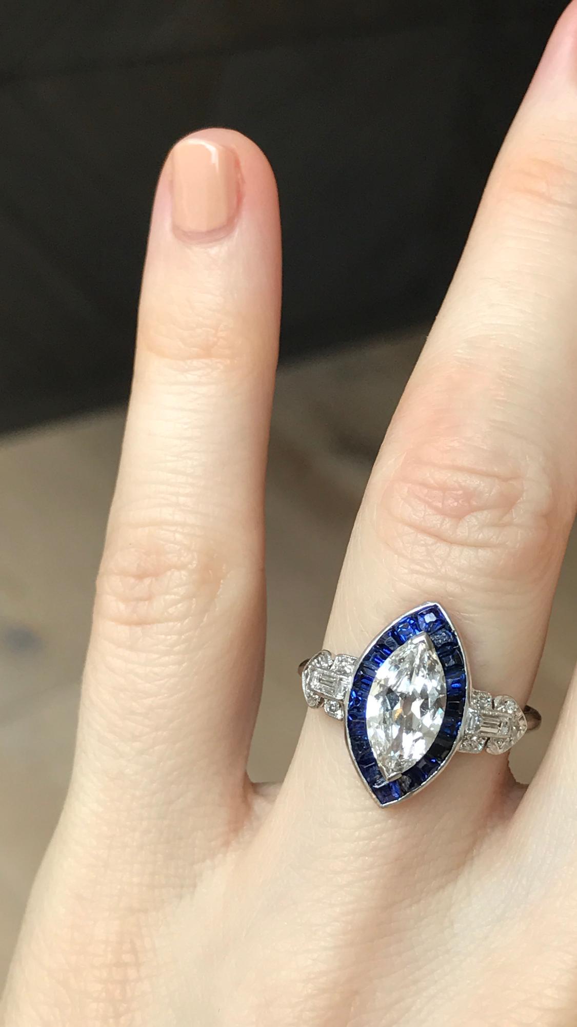 1 07 Carat Art Deco Diamond And Sapphire Engagement Ring Art Deco Sapphire Engagement Ring Engagement Rings Marquise Art Deco Engagement Ring