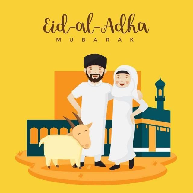 زوجان مسلمان شابان احتفال عيد الفطر عيد الأضحى المبارك الصورة الرمزية توضيح كرتون Png والمتجهات للتحميل مجانا Eid Al Adha Eid Al Adha Greetings Eid