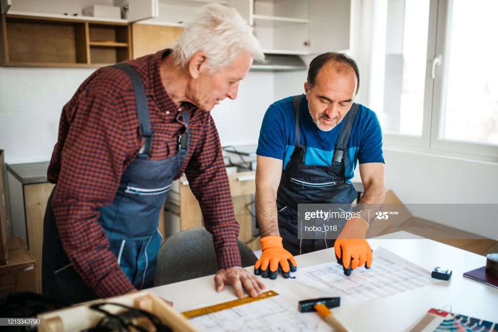 Two Senior Repairmen Trying To Figure Out How To Assemble Piece Of Furniture Pho #Ad, , #sponsored, #Figure, #Repairmen, #Senior, #Assemble