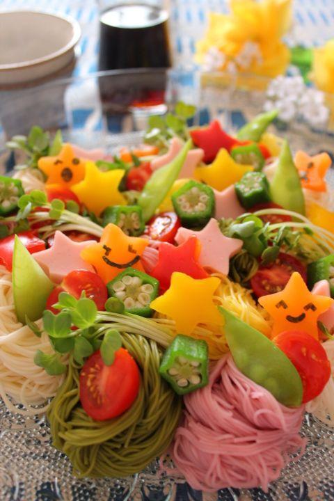 Colorful Somen Noodles for Tanabata Star Festival, Japan. Kawaii