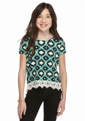 SEQUIN HEARTS girls  Tribal Print Crochet High Low Top Girls 7-16