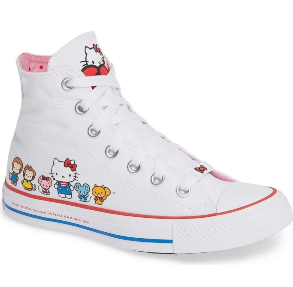 6a00cfe5f4e6 These Chuck Taylor All Star high top shoes feature Hello Kitty and friends  and the iconic phrase
