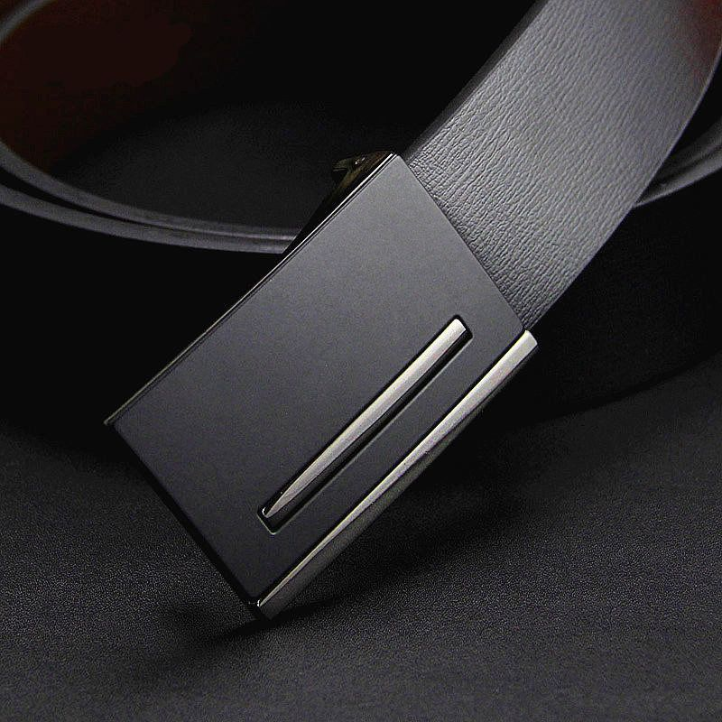 2017 New men genuine leather belt men's cowskin belt metal buckle starp simple formal suit trousers belt gift for men belts