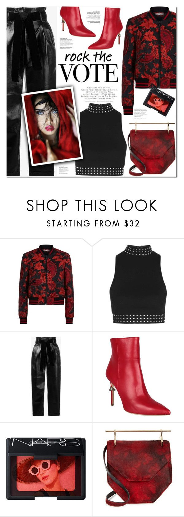 """ROCK THE VOTE"" by nanawidia ❤ liked on Polyvore featuring Alice + Olivia, Topshop, Philosophy di Lorenzo Serafini, Dsquared2, NARS Cosmetics, M2Malletier, polyvoreeditorial, polyvorecontest and rockthevote"
