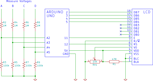 Arduino 4 channel voltmeter circuit diagram | electro