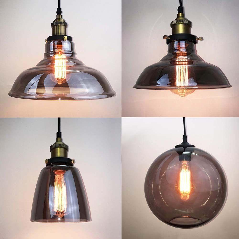Loft Housedesign: Vintage Industrial Grey Glass Shade Brass Pendant Lamp