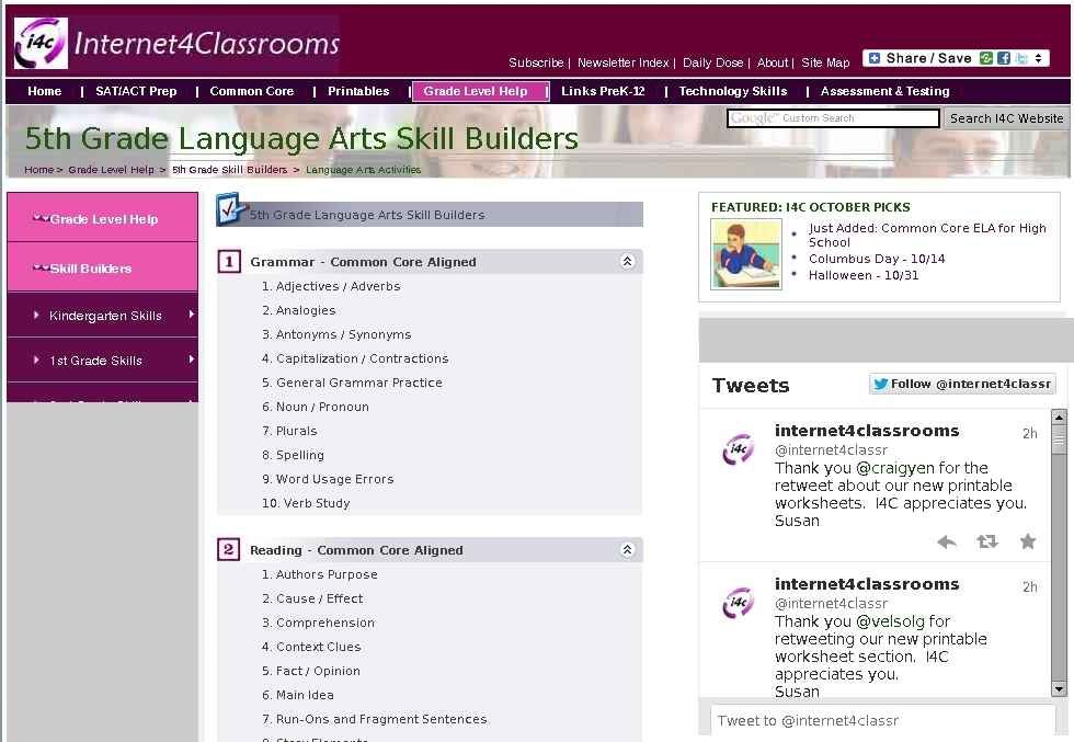 Fifth Grade Language Arts Skill Builders For Standardized