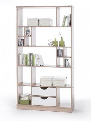 Simple RINA Regal hochwertiges Regal Schrank Stauraumelement Raumteiler Eiche Sonoma