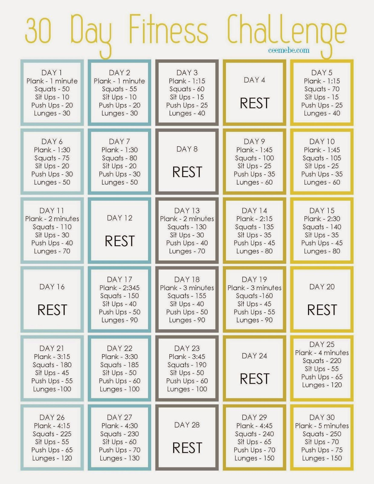 30 day fitness challenge - start with me on april 1st! :) | health