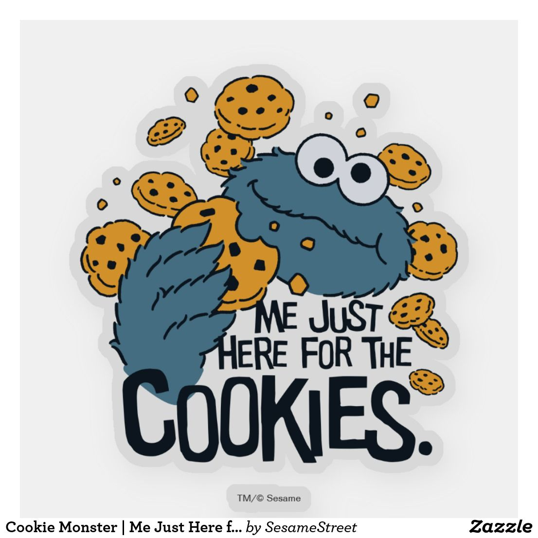 Cookie Monster Me Just Here For The Cookies Sticker Zazzle Com In 2021 Cookie Monster Wallpaper Monster Cookies Monster Stickers