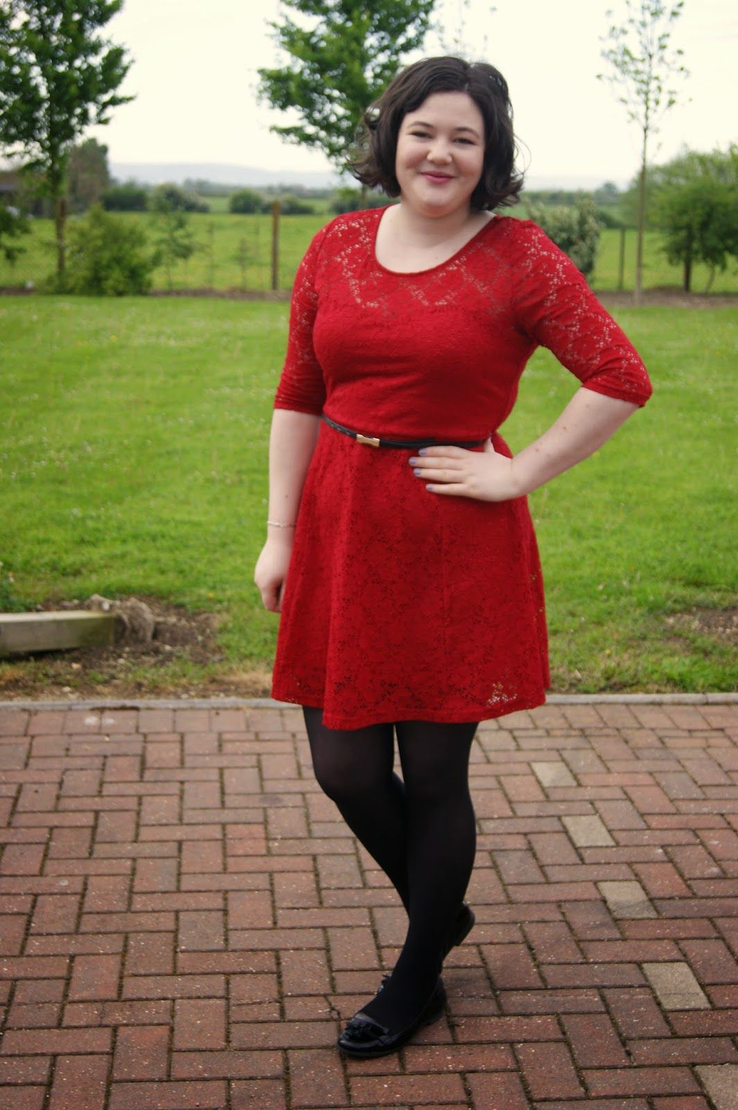 Everyday Red Lace Dress From New Look Black Tights And