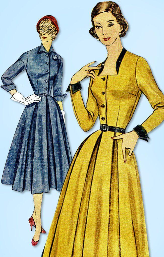 1950s Vintage Simplicity Sewing Pattern 3687 Misses Shirtwaist Dress ...