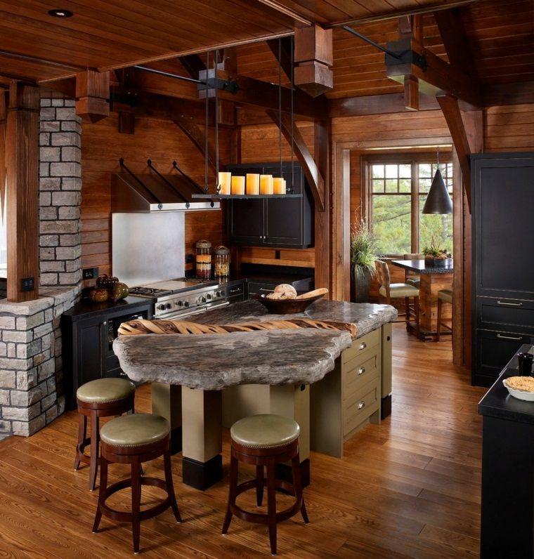 isla con encimera de piedra Cocinas Pinterest Fotos de cocina