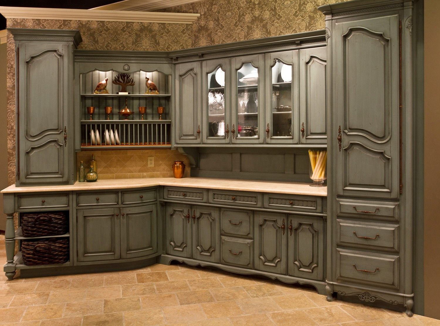 Outstanding French Chateau Kitchen Wallpaper With Gray Wooden Kitchen  Cabinet Set Mounted To The Wall Be Equipped Shelves For Kitchen Appliances  And Kitchen ...