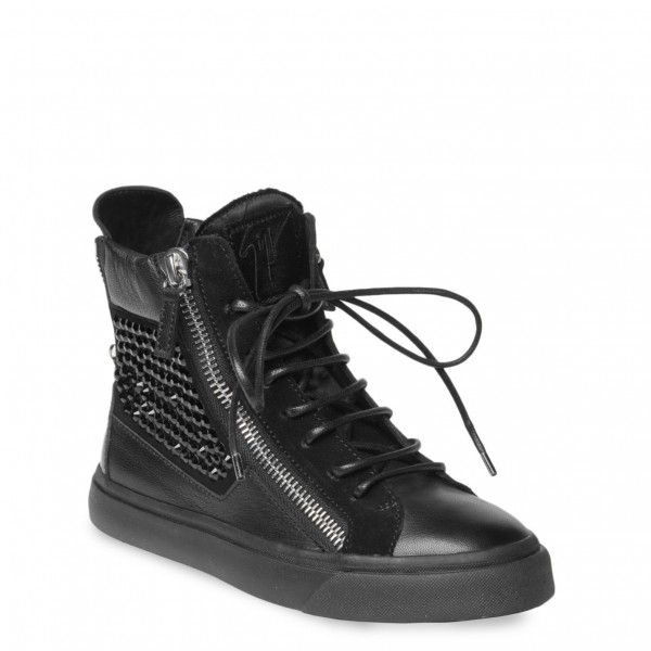 High Top Sneakers For Women | Giuseppe Zanotti women high-top sneakers in  black calfskin