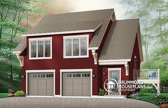 W3933 garage apartment house plan with 2 bedrooms open for Open floor plan garage apartment
