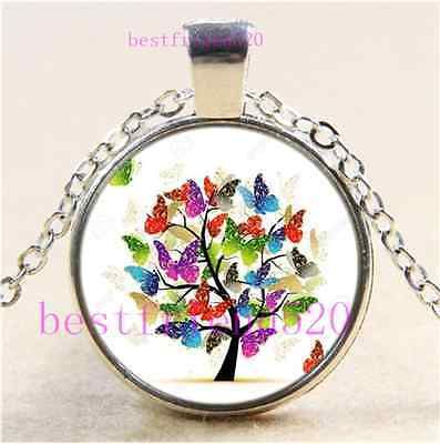 Details about butterfly tree photo cabochon glass tibet silver chain butterfly tree photo cabochon glass tibet silver chain pendant necklace aloadofball Image collections