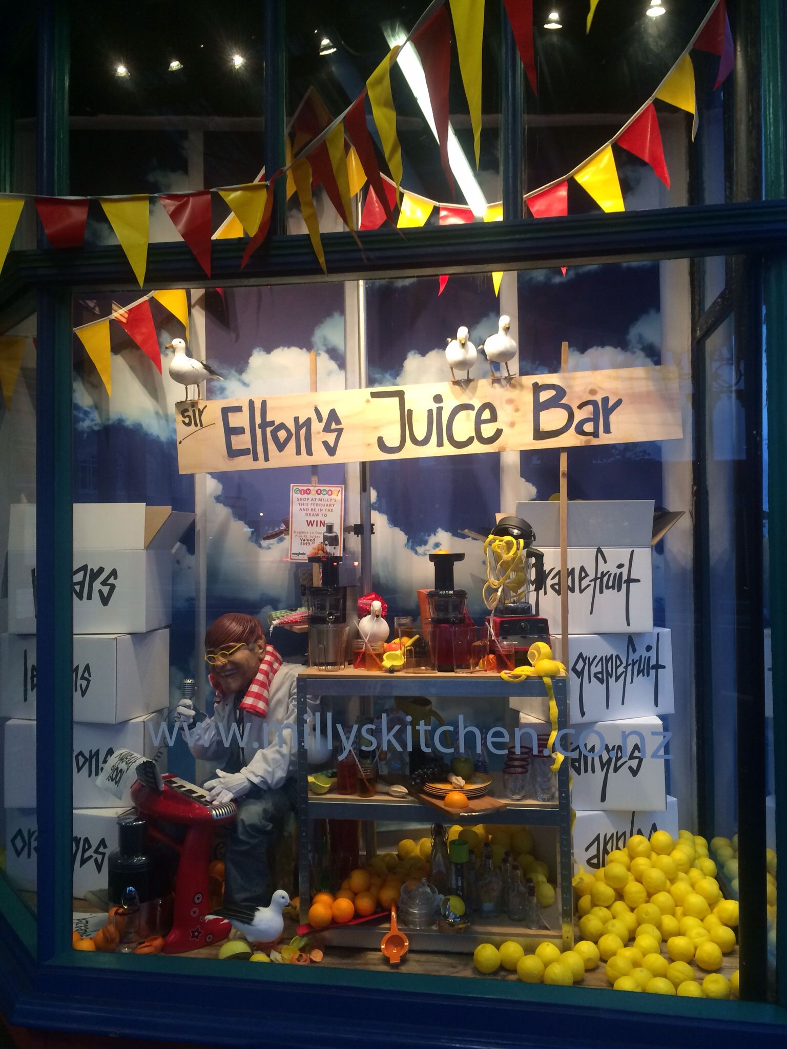 Window display ideas  sir eltonus juice bar created by ton van der veer   window