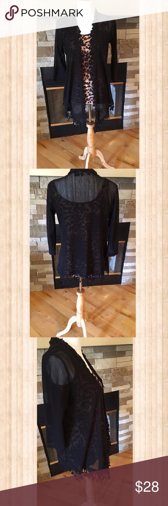 Daytrip Black Drape Cardigan | Sheer material, Layering and Floral