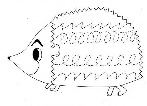 hedgehog trace worksheet | crafts and worksheets for preschool,toddler and kindergarten | kids