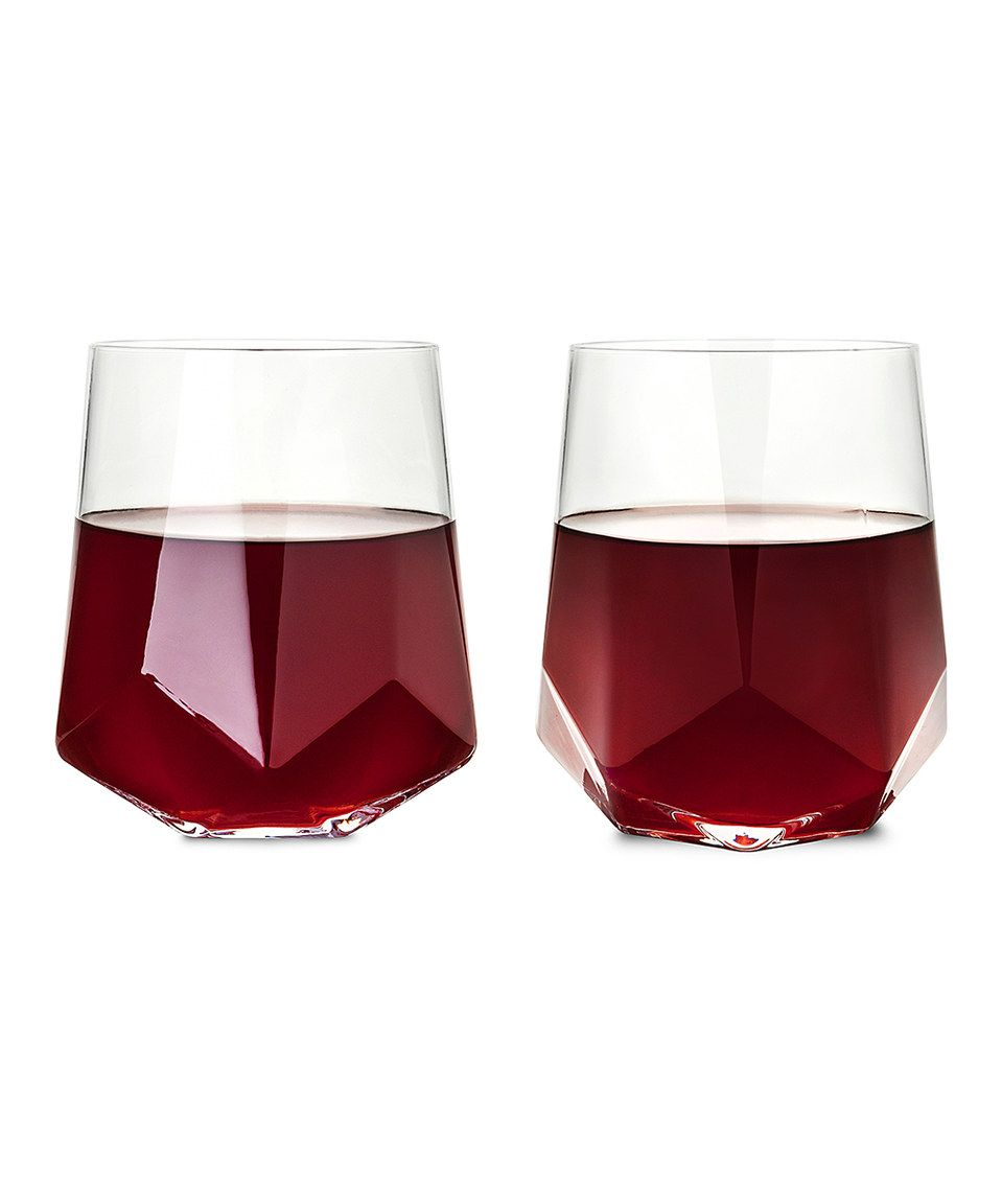 This Faceted Crystal Wine Glass Set Of Two By True Brands Is Perfect Zulilyfinds Crystal Wine Glasses Wine Glass Glass Set