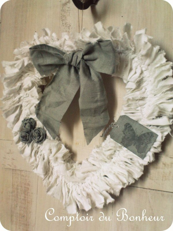Coeur et couronne shabby ghirlande pinterest bonheur for Couronne shabby chic