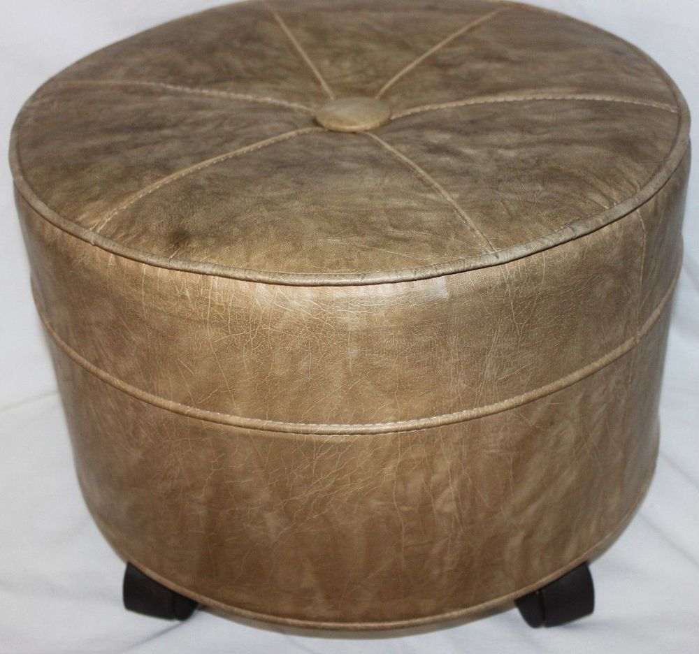 Vintage Mid Century Modern Vinyl Round Rolling Footstool Hassock Ottoman Casters Modern Midcentury Modern Footstool Mid Modern