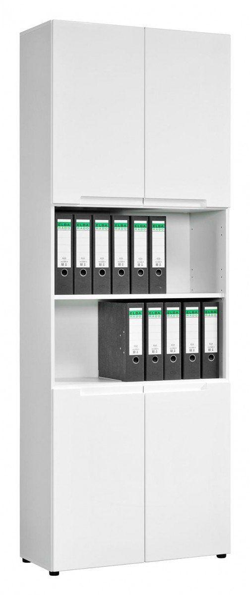 Büroschrank Mailand 63 weiß Hochglanz ca. 80 x 218 x 35 cm