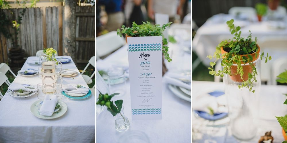 Table Settings And Fresh Herbs And Details For Seaside Themed