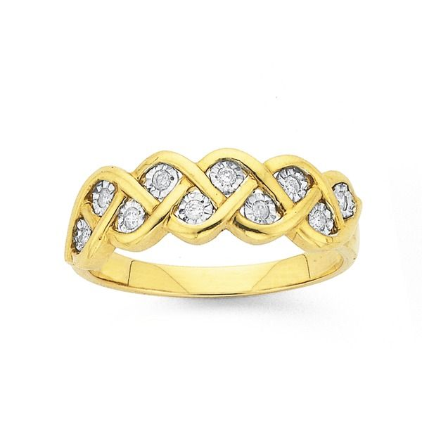 9ct Gold Diamond Plait Ring Prouds The Jewellers