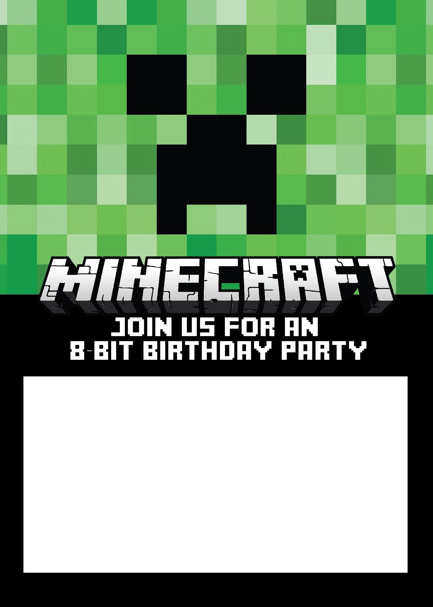 Invitacion Fiesta Minecraf Pinterest Birthdays - Minecraft birthday invitation card template