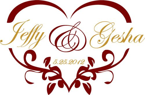 Heart shaped wedding monogram for a gobo wedding creative wedding heart shaped wedding monogram for a gobo junglespirit Image collections