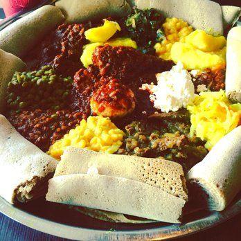 Photo Of Elsa S Ethiopian Restaurant Overland Park Ks United States Large Meat And Vegetarian Platter With Tons Injera