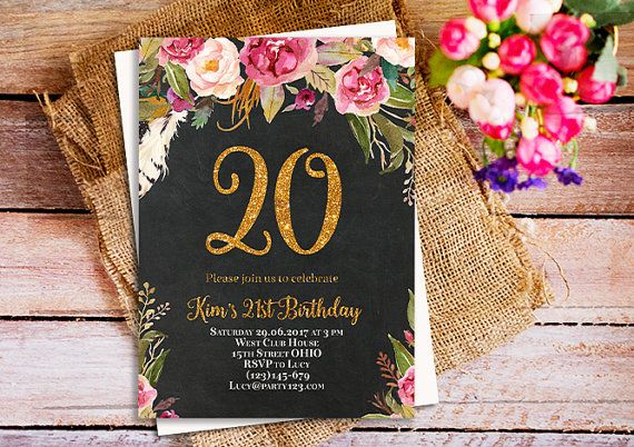 black and gold birthday invitation 20th