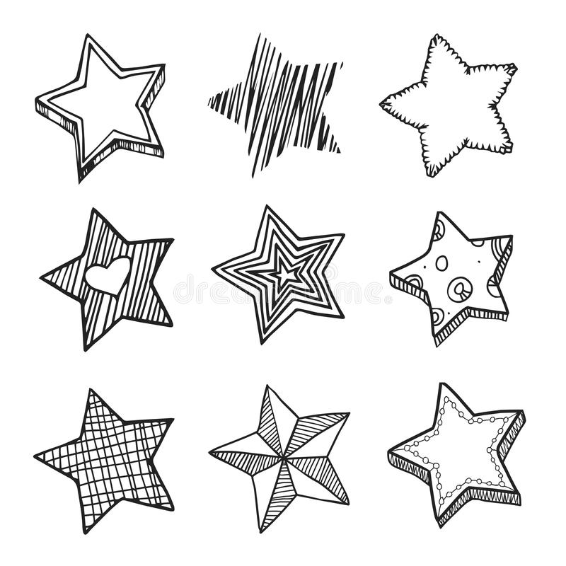 Doodle Stars Set In Black And White Stock Illustration Star Doodle Doodle Drawings Doodles