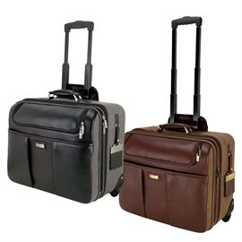 "KL4006 - Brown Napa: Leather/Canvas Trolley Case  Padded canvas case, front and back zip pockets with accessory holder, multiple interior pockets, secure luggage strap, full size zip pocket, reinforced leather handle, 37"" extending trolley handle, matching luggage tag included."