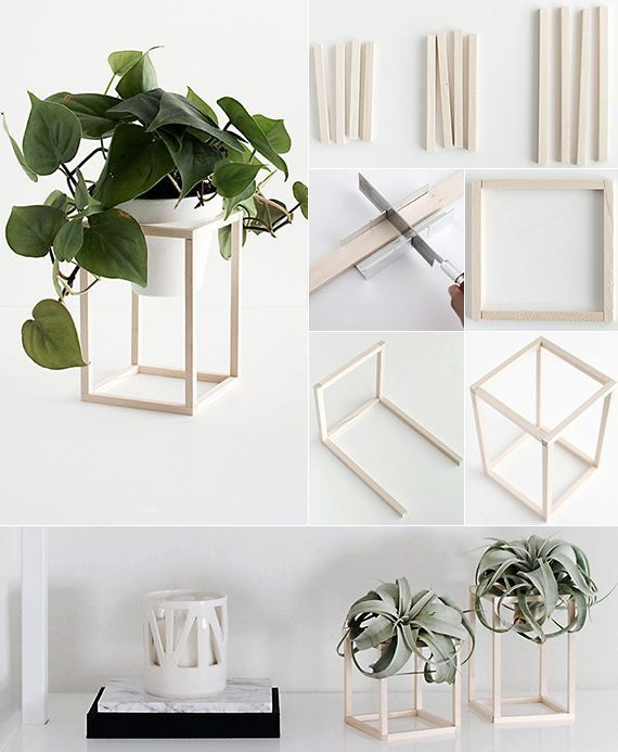 do-it-yourself decorating in black, -white-and-Holz_blumenhalter-tinker-with-woo...