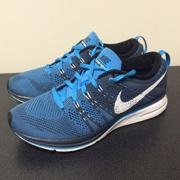 Blue Nike Flyknit Trainer Shoe Nike Flyknit Trainers, two tones of Blue  with White swoosh, Unisex sizing Women 6.5 and Men 5.5, in great condition!