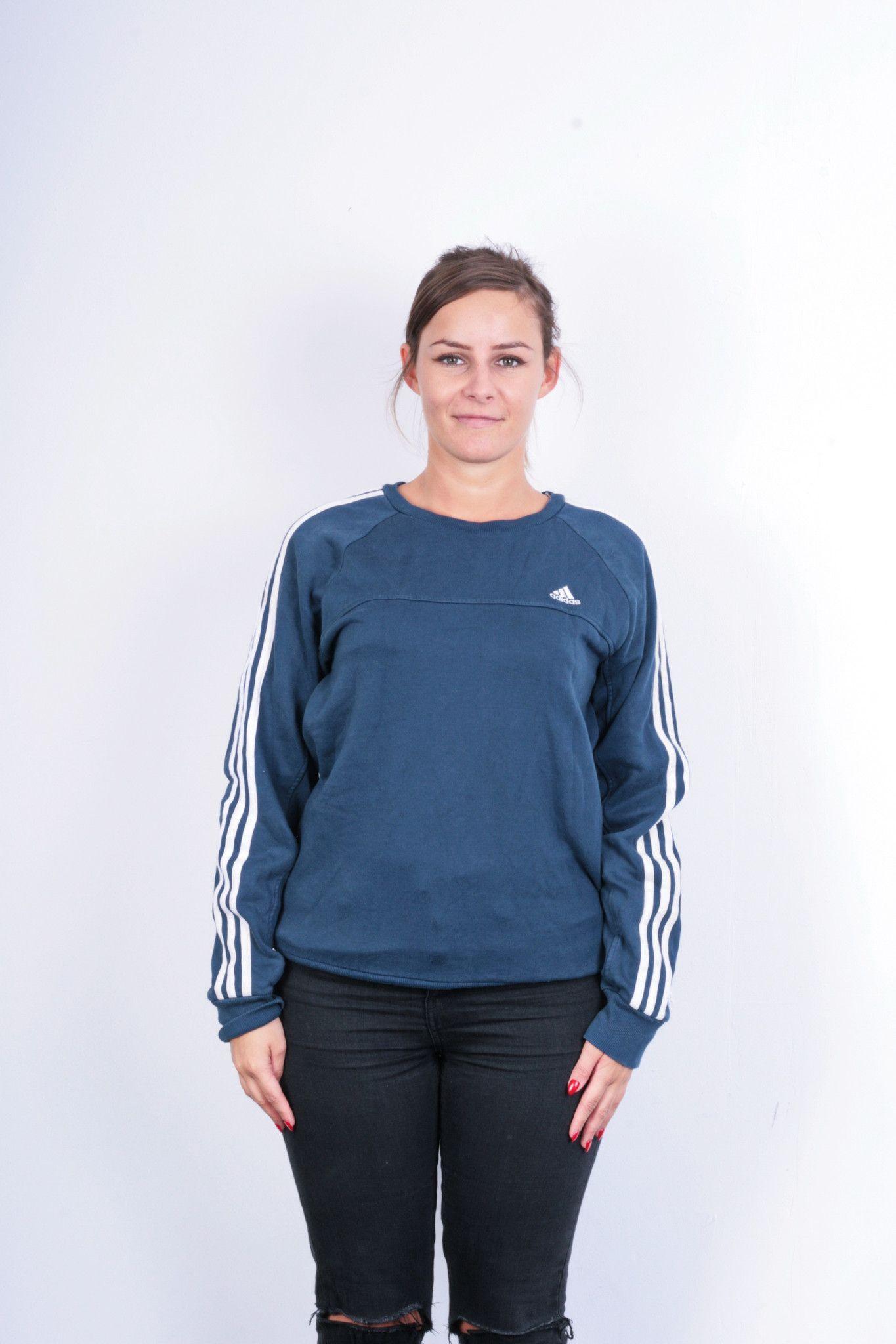 Adidas Womens S/M Sweatshirt Crew Neck Navy Blue Cotton Top ...