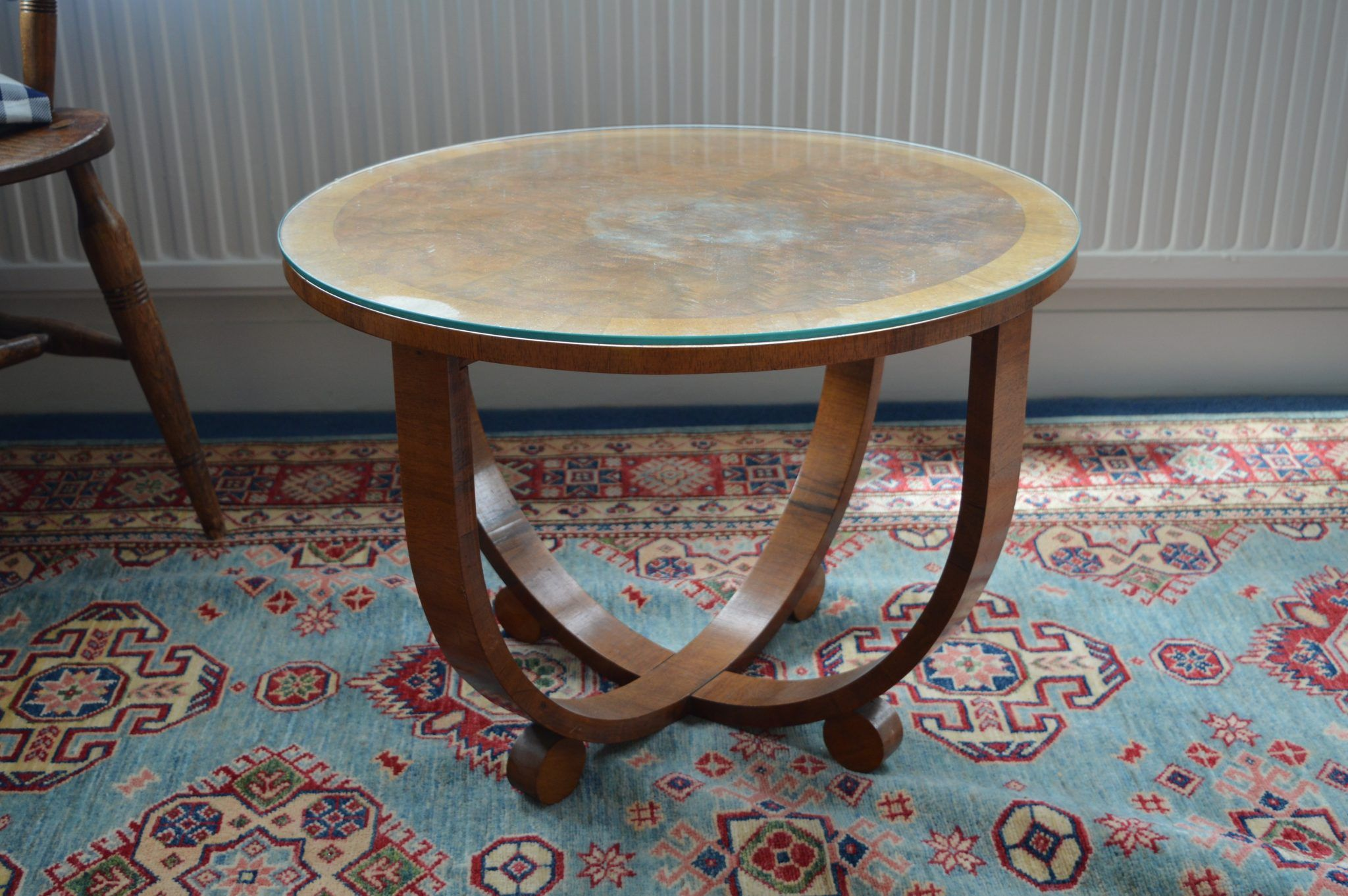 1930s Art Deco Style Coffee Table with Glass Top Layer