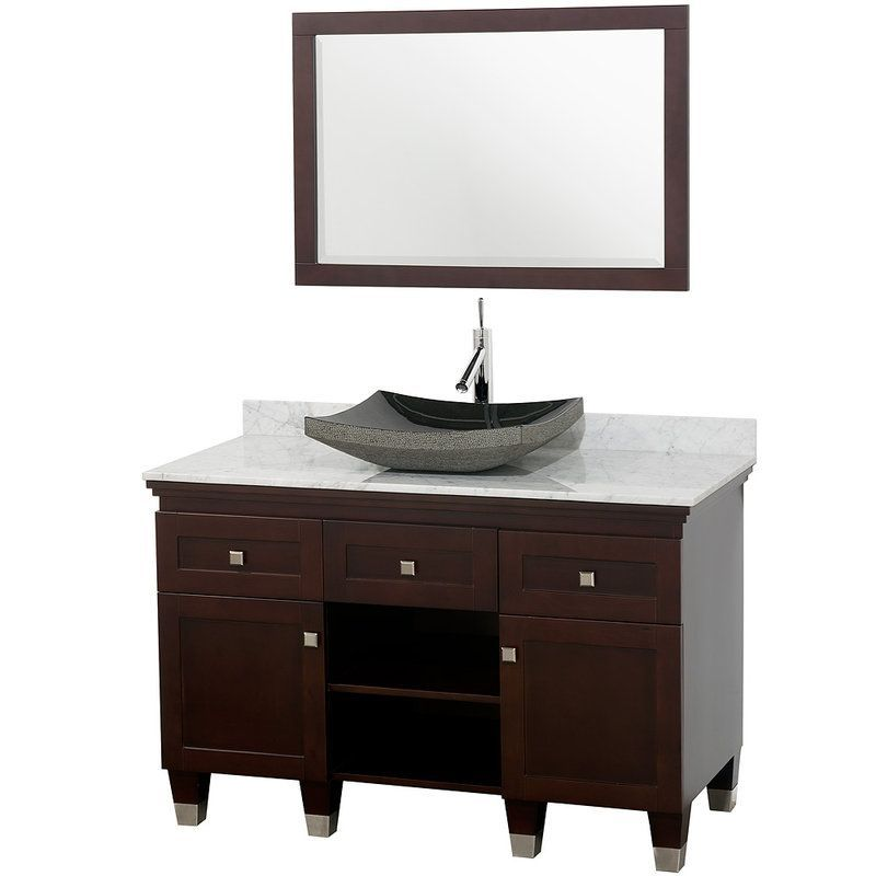 Premiere Single Bathroom Vanity Set With Mirror Base Finish Espresso Top White Carrera Marble Basin Black Granite