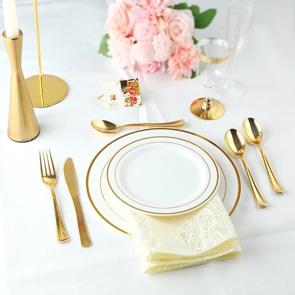 100 Piece Gold Plastic Plates With Gold Silverware Premium Plastic Dinnerware Set Includes 20 Wedding Dinnerware Disposable Wedding Plates Plastic Dinnerware