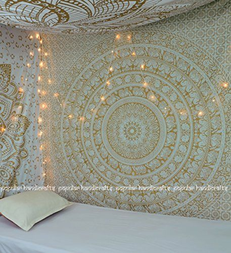 New Launched Popular Gold Elephant Tapestry Indian Mandala Wall Art Hippie  Wall Hanging Bohemian Bedspread With Metallic Shine Tapestries Exclusively  By ...