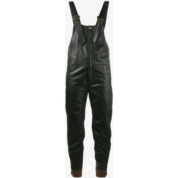 Chloé biker dungarees ($3,545) ❤ liked on Polyvore featuring jumpsuits, chloe, chloe jumpsuit, long jumpsuits and leather jumpsuit