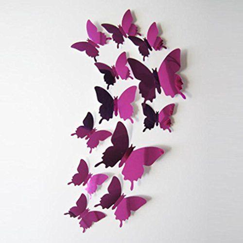 $2.24 - 12pcs 3D DIY Butterflies Wall StickersHighpot Party Wall ...